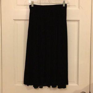 Black velvet midi skirt